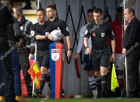 David Webb match referee collects the EFL Mitre Delta match ball