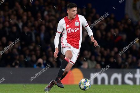 Edson Alvarez of AFC Ajax in action during the UEFA Champions match between Chelsea and AFC Ajax at Stamford Bridge in London, UK - 5th November 2019