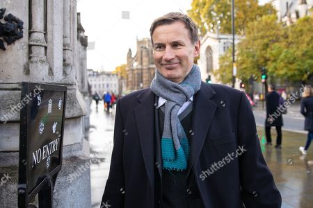 Jeremy Hunt MP arrives at the Houses of Parliament this morning.