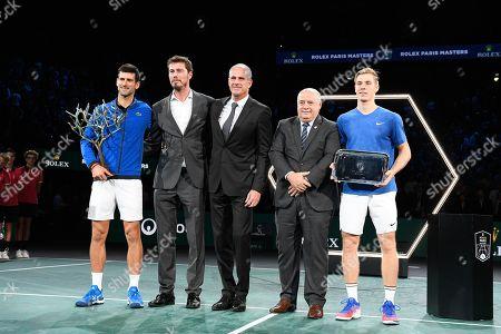 Novak Djokovic (SRB), Marat Safin, Guy Forget, Bernard Giudicelli and Denis Shapovalov (CAN) during the trophy ceremony