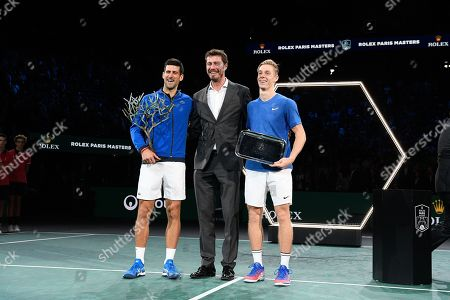 Novak Djokovic (SRB), Marat Safin and Denis Shapovalov (CAN) during the trophy ceremony