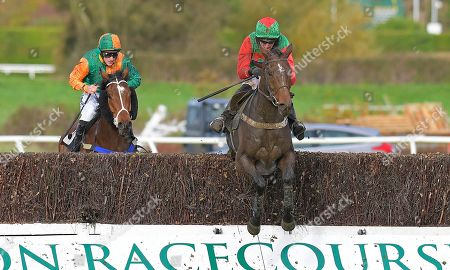 Winner of The Revived Inns Novices' Handicap Chase Crossley Tender (r) ridden by Nick Scholfield and trained by Paul Henderson during Horse Racing at Plumpton Racecourse on 4th November 2019