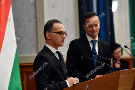 Hungarian Minister of Foreign Affairs and Trade Peter Szijjarto (R) and his German counterpart Heiko Mass hold a joint press conference after their meeting in the Ministry of Foreign Affairs and Trade in Budapest, Hungary, 04 November 2019.