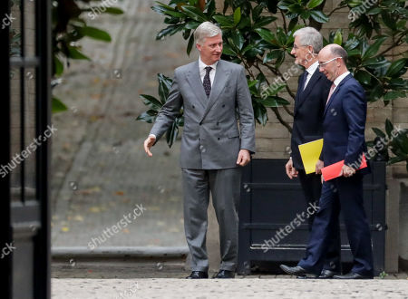 King Philippe of Belgium (L) welcomes N-VA's Geert Bourgeois (C) and PS' Rudy Demotte for a meeting of the 'pre-formators' with the King at the Royal Palace in Brussels, Belgium, 04 November 2019. They will report on the formation of a new government after 26 May's regional, federal and European elections.