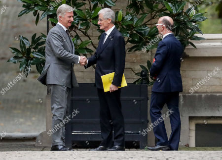 Stock Photo of King Philippe of Belgium (L) welcomes N-VA's Geert Bourgeois (C) and PS' Rudy Demotte for a meeting of the 'pre-formators' with the King at the Royal Palace in Brussels, Belgium 04 November 2019  They will report on the formation of a new government after 26 May's regional, federal and European elections.