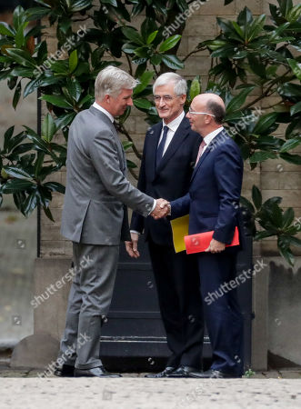 Stock Image of King Philippe of Belgium (L) welcomes N-VA's Geert Bourgeois (C) and PS' Rudy Demotte for a meeting of the 'pre-formators' with the King at the Royal Palace in Brussels, Belgium 04 November 2019  They will report on the formation of a new government after 26 May's regional, federal and European elections.