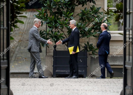 King Philippe of Belgium (L) welcomes N-VA's Geert Bourgeois (C) and PS' Rudy Demotte for a meeting of the 'pre-formators' with the King at the Royal Palace in Brussels, Belgium 04 November 2019  They will report on the formation of a new government after 26 May's regional, federal and European elections.
