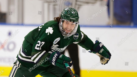 Mercyhurst's James Anderson during an NCAA hockey game against Bentley on in Waltham, Mass