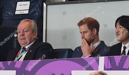 World Rugby chairman Bill Beaumont, Prince Harry and Japan's Crown Prince Akishino
