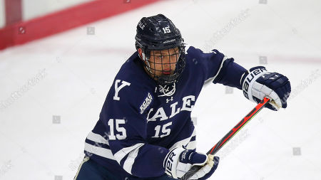 Yale's Kyle Johnson (15) during an NCAA hockey game against Brown on in Providence, R.I