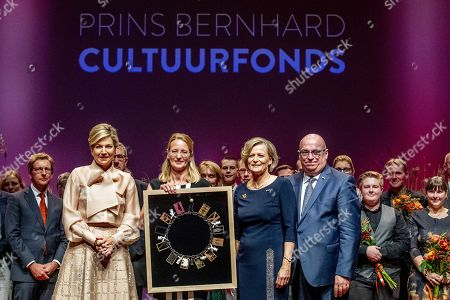 Dutch Queen Maxima (L) with Nicole Bakker (C) of the Hollandsche Molen Association pose during the presentation of the Prince Bernhard Culture Fund Prize in Amsterdam, Netherlands, 04 November 2019. The Prince Bernhard Cultural Prize is awarded to individuals or institutions in the field of music, theater, dance, visual arts, history, literature, heritage, cultural or nature conservation. It was created in London in 1940 by the husband of Queen Juliana, Prince Bernhard.