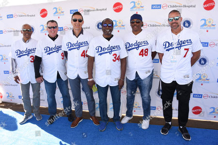 Stock Image of Derrel Thomas with Mickey Hatcher, Matt Luke, Lee Lacy, Dennis Powell and Billy Ashley