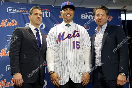 Carlos Beltran, Jeff Wilpon, Brodie Van Wagenen. The new New York Mets manager, Carlos Beltran, center, poses for a picture with general manager Brodie Van Wagenen, left, and Mets COO Jeff Wilpon during a news conference at Citi Field, in New York. Beltran, two years removed from his playing career and with no managerial experience, has been picked by the Mets to replace Mickey Callaway