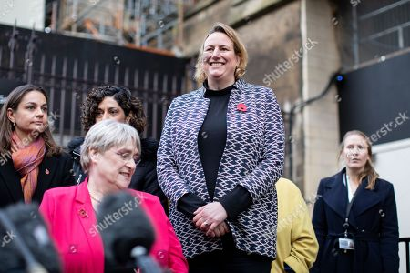 Stock Image of Antoinette Sandbach MP (who has recently defected from the Conservatives to the Liberal Democrats) stands in support before Leader of the Liberal Democrats Jo Swinson speaks to media about not being included in the televised leaders debate
