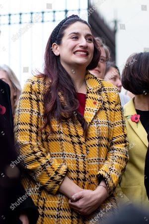 Luciana Berger MP stands in support before Leader of the Liberal Democrats Jo Swinson speaks to media about not being included in the televised leaders debate