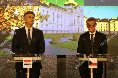 Czech Prime Minister Andrej Babis (R) and Croatian Prime Minister Andrej Plenkovic (L) speak during a joint press conference in Prague, Czech Republic, 04 November 2019.