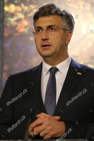 Croatian Prime Minister Andrej Plenkovic  speaks during a joint press conference in Prague, Czech Republic, 04 November 2019.