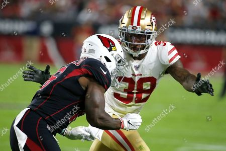 San Francisco 49ers defensive back Dontae Johnson (38) during the first half of an NFL football game against the Arizona Cardinals, in Glendale, Ariz