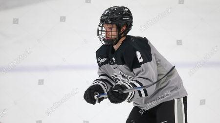 Stock Image of Providence's Luke Johnson (2) during an NCAA hockey game against Colgate on in Providence, R.I