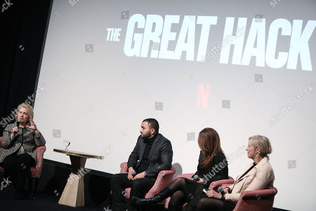 Secretary Hillary Clinton, Karim Amer, Jehane Noujaim (Directors) and Carole Cadwalladr
