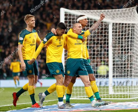 Celtic captain Scott Brown celebrates with team mates Kristoffer Ajer, Tom Rogic & Christopher Jullien after scoring to give them a 1-4 lead.