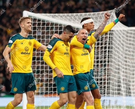 Celtic captain Scott Brown celebrates with team mates Kristoffer Ajer, Tom Rogic & Christopher Jullien after scoring to give them a 4-1 lead.