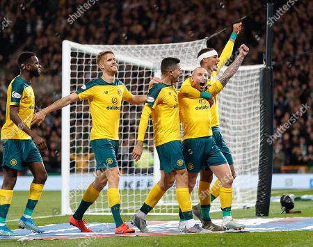 Stock Picture of Celtic captain Scott Brown celebrates with team mates Odsonne Edouard, Kristoffer Ajer, Tom Rogic & Christopher Jullien after scoring to give them a 4-1 lead.