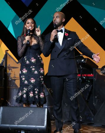 Hosts Rochelle Humes and Marvin Humes on stage