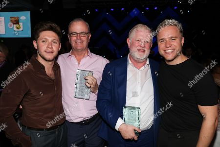 Richard Griffiths and Harry Magee, Niall Horan and Olly Murs during the MITS Award
