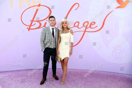 Stock Image of Marc Murphy and Jessie Murphy poses for photos in the Birdcage on Melbourne Cup Day at Flemington Racecourse in Melbourne, Australia, 05 November 2019.
