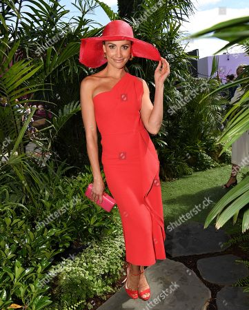 Stock Photo of Rachael Finch poses for photos in the Birdcage on Melbourne Cup Day at Flemington Racecourse in Melbourne, Australia, 05 November 2019.