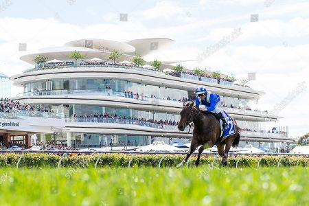 Jockey Luke Nolen rides Aryaaf to victory in race one, the Darley Ottawa Stakes, during Melbourne Cup Day at Flemington Racecourse in Melbourne, Australia, 05 November 2019.