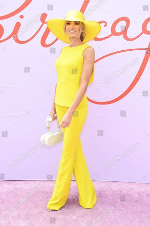 Stock Image of Nadia Bartel poses for photos in the Birdcage on Melbourne Cup Day at Flemington Racecourse in Melbourne, Australia, 05 November 2019.