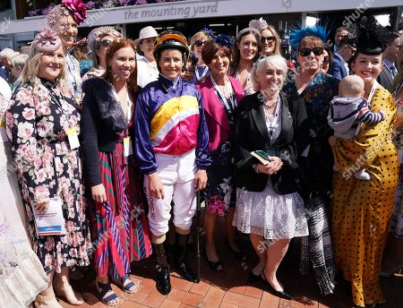 Jockey Michelle Payne (C) is poses for photos with people before race one, the Darley Ottawa Stakes, during Melbourne Cup Day at Flemington Racecourse in Melbourne, Australia, 05 November 2019.