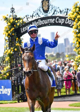 Jockey Luke Nolen returns to scale after riding Aryaaf to victory in race one, the Darley Ottawa Stakes, during Melbourne Cup Day at Flemington Racecourse in Melbourne, Australia, 05 November 2019.