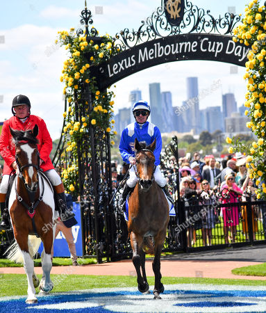 Stock Image of Jockey Luke Nolen returns to scale after riding Aryaaf to victory in race one, the Darley Ottawa Stakes, during Melbourne Cup Day at Flemington Racecourse in Melbourne, Australia, 05 November 2019.