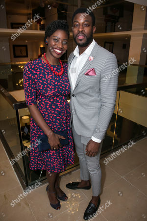 Stock Photo of Carole Stennett (Miss Forsythe) and Emmanuel Ogunjinmi (Understudy Happy/Biff)