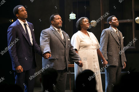 Sope Dirisu (Biff), Wendell Pierce (Willy Loman), Sharon D Clarke (Linda Loman) and Natey Jones (Happy) during the curtain call