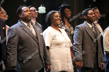 Wendell Pierce (Willy Loman), Sharon D Clarke (Linda Loman) and Natey Jones (Happy) during the curtain call