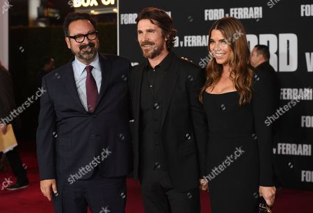 "James Mangold, Christian Bale, Sibi Blazic. Director James Mangold, from left, Christian Bale and Sibi Blazic arrive at a special screening of ""Ford v Ferrari"", at the TCL Chinese Theatre in Los Angeles"