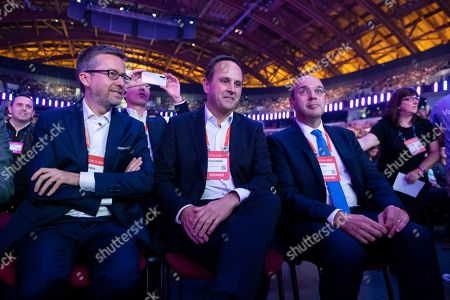 Carlos Moedas, former European Commissioner for Science, Investigation and Innovation, Fernando Medina, Mayor of Lisbon and Siza Vieira, Minister of Economy of Portugal attend the opening ceremony