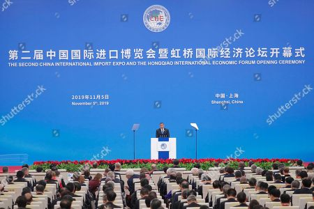 Jamaican Prime Minister Andrew Holness delivers a speech during the opening ceremony of the second China International Import Expo at the National Exhibition and Convention Center in Shanghai, China, 05 November 2019. The Expo will be held in Shanghai from 05 November to 10 November 2019.