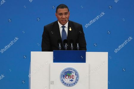 Jamaica's Prime Minister Andrew Holness delivers a speech at the opening ceremony of the China International Import Expo in Shanghai on . The sprawling import fair into its second year is meant to demonstrate China's willingness to open its domestic markets