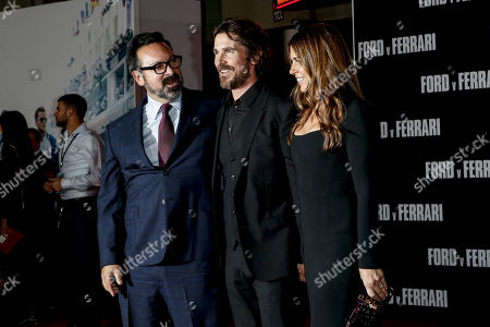 James Mangold, US actor Christian Bale and his wife US actress Sibi Blazic pose on the red carpet prior to the premiere of the Ford v Ferrari movie at TLC Chinese Theater in Hollywood, California, USA, 04 November 2019. The movie is to be released in US theaters on 15 November 2019.