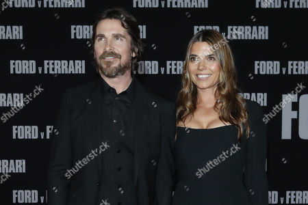 Christian Bale (L) and his wife US actress Sibi Blazic (L) pose on the red carpet prior to the premiere of the Ford v Ferrari movie at TLC Chinese Theater in Hollywood, California, USA, 04 November 2019. The movie is to be released in US theaters on 15 November 2019.