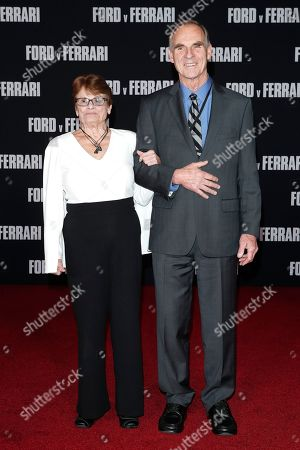 Stock Picture of Peter Miles (R), son of British race car driver Ken Miles, poses with a guest (name not identified) on the red carpet prior to the premiere of the Ford v Ferrari movie at TLC Chinese Theater in Hollywood, California, USA, 04 November 2019. The movie is to be released in US theaters on 15 November 2019.
