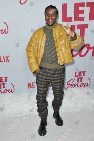 """Shameik Moore attends the LA premiere of """"Let it Snow"""" at The Grove, in Los Angeles"""