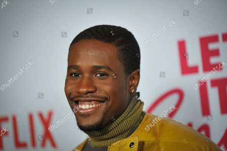 Shameik Moore poses upon his arrival for the premiere of Netflix's 'Let It Snow' at The Grove in Los Angeles, California, USA, 04 November 2019.