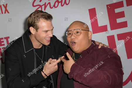 Matthew Noszka (L) and US actor Jacob Batalon (R) pose upon their arrival for the premiere of Netflix's 'Let It Snow' at The Grove in Los Angeles, California, USA, 04 November 2019.