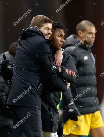 Rangers Manager Steven Gerrard celebrates with Alfredo Morelos of Rangers after the final whistle